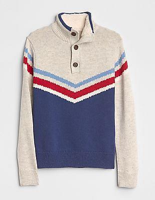 GAP Boys Henley-Button Mockneck Sweater