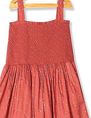 U.S. Polo Assn. Kids Girls Smocked Strappy Dress