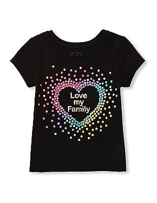 The Children's Place Baby And Toddler Girl Short Sleeve 'Love My Family' Heart Graphic Tee