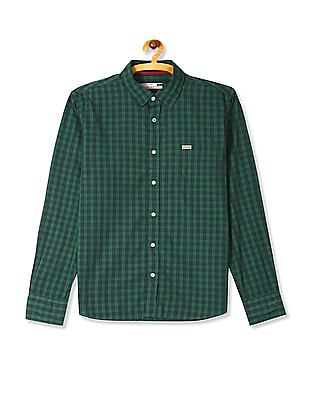 Flying Machine Green Rounded Cuff Check Shirt