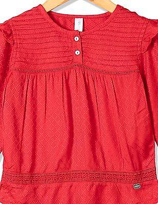 U.S. Polo Assn. Kids Girls Patterned Weave Pin Tuck Top