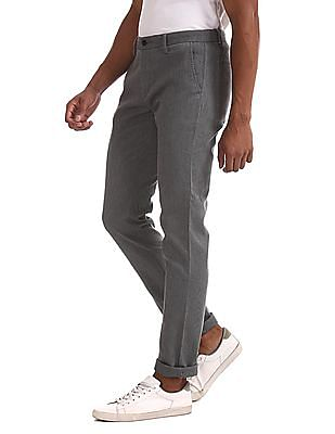 Arrow Sports Grey Chrysler Slim Fit Patterned Trousers
