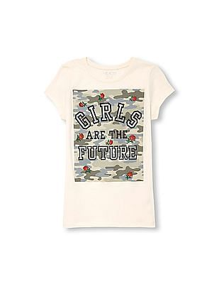 The Children's Place Girls Short Sleeve Glitter 'Girls Are the Future' Camo Rose Graphic Tee