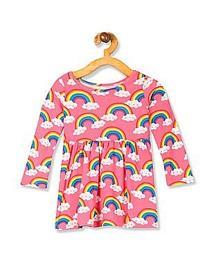 The Children's Place Toddler Girl Pink  Long Sleeve Rainbow Unicorn Print Knit Dress