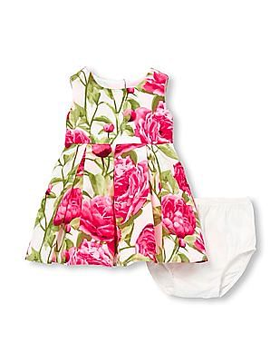 The Children's Place Baby Girls Mommy and Me Sleeveless Floral Print Matching Woven Dress And Bloomers Set