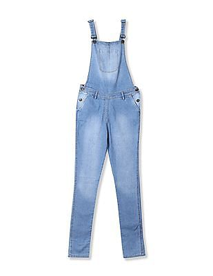 U.S. Polo Assn. Kids Girls Stone Wash Denim Dungarees