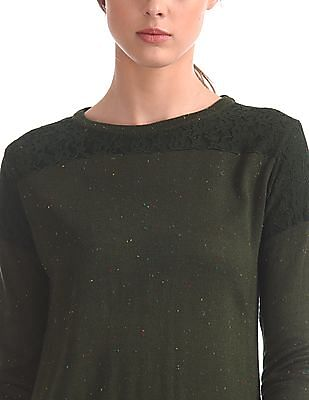 Cherokee Lace Panel Speckled Sweater