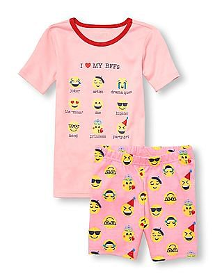 The Childrens Place Baby Girls Four Piece Graphic Sleeve Top and Shorts Pajama Set