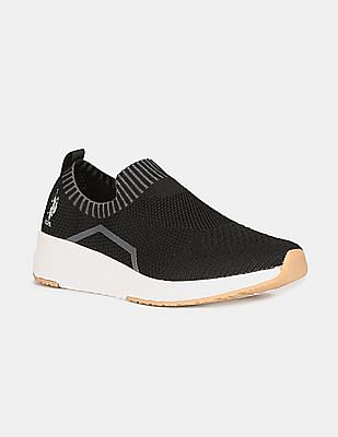 U.S. Polo Assn. Men Black Contrast Sole Knit Slip On Shoes