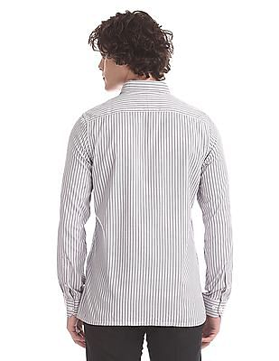 Excalibur Grey Patterned Stripe Patch Pocket Shirt