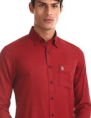U.S. Polo Assn. Red Tailored Regular Fit Solid Shirt