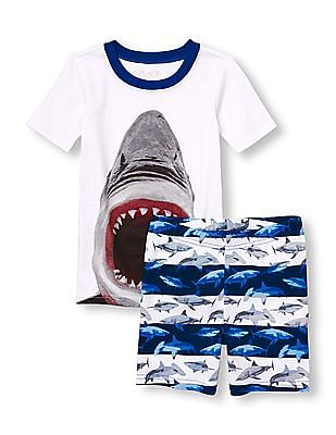 The Children's Place Boys Short Sleeve Shark Top And Striped Shorts Pj Set