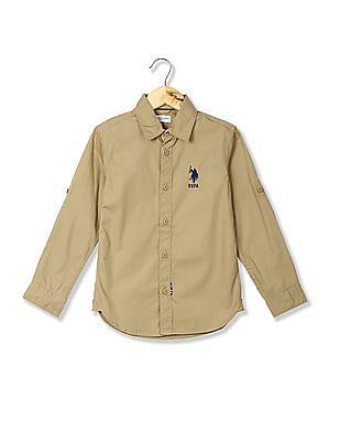 U.S. Polo Assn. Kids Boys Button-Down Collar Solid Shirt