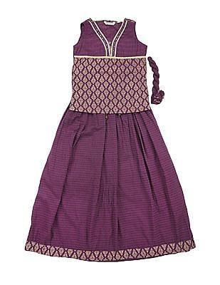 Karigari Girls Top Skirt And Dupatta Set