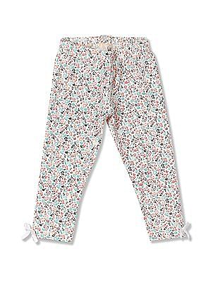 Donuts Girls Bow Trims Floral Printed Leggings