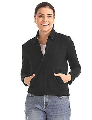 Flying Machine Women Button Down Collar Panelled Jacket