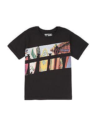 FM Boys Boys Printed Front Crew Neck T-Shirt