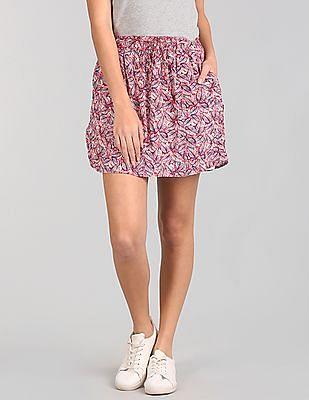 GAP Tie Waist Print Skirt
