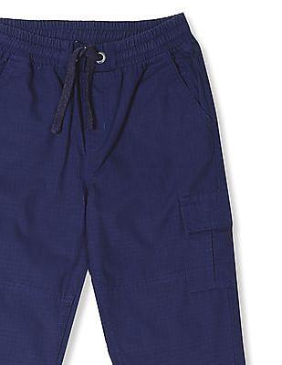 Cherokee Blue Boys Drawstring Waist Solid Trousers