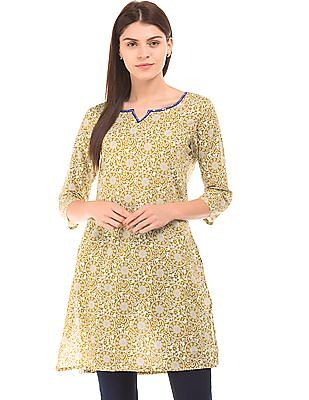 Karigari Notch Neck Printed Kurta