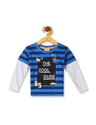 Donuts Blue Boys Doctor Sleeve Striped T-Shirt