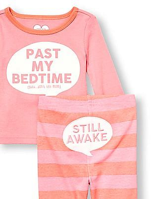 The Children's Place Baby And Toddler Girl Pink Long Sleeve 'Past My Bedtime (Shhh.. Don't Tell Mom)' Top And 'Still Awake' Graphic Striped Pants PJ Set