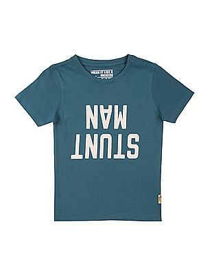 FM Boys Boys Printed Front Round Neck T-Shirt