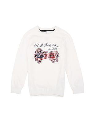U.S. Polo Assn. Kids Girls Regular Fit Printed Sweater