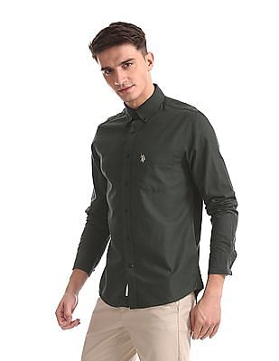 U.S. Polo Assn. Green Rounded Cuff Solid Shirt