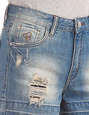 Flying Machine Women Distressed Denim Shorts