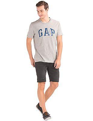 GAP Men Black Distressed Denim Shorts