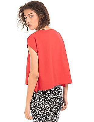 SUGR V-Neck Textured Boxy Top