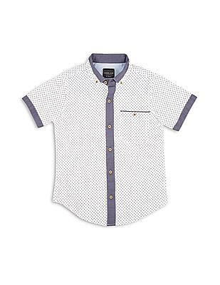 Cherokee Boys Polka Print Button Down Shirt