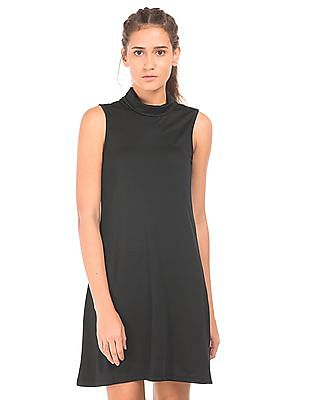 Flying Machine Women Turtleneck Sleeveless A-Line Dress