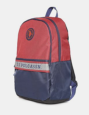 U.S. Polo Assn. Men Red And Navy Colour Block Laptop Backpack