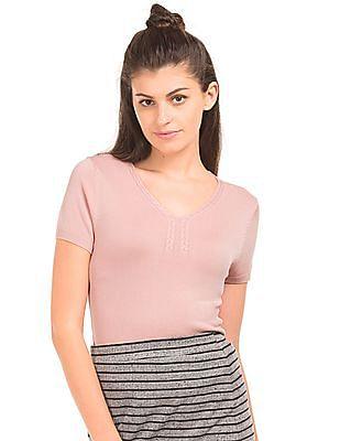 Elle V-Neck Flat Knit Top