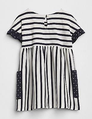 GAP Baby White Stripe Ruffle Dress