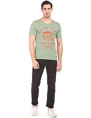 Flying Machine Contrast Print Slubbed T-Shirt