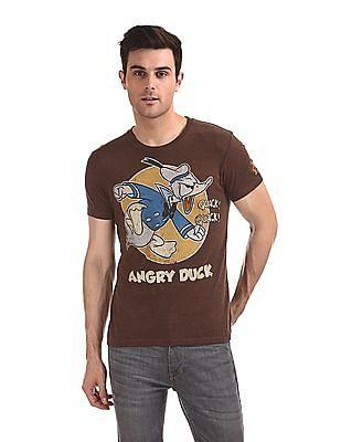 Flying Machine Round Neck Donald Duck Graphic T-Shirt
