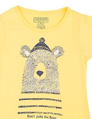 Cherokee Girls Bear Print Cotton T-Shirt