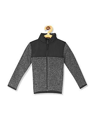 The Children's Place Boys Grey Marled Sweater Trail Jacket