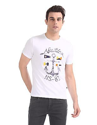 Nautica Short Sleeve Anchor Print Crew T-Shirt