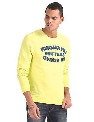 Flying Machine Crew Neck Textured Front Sweatshirt