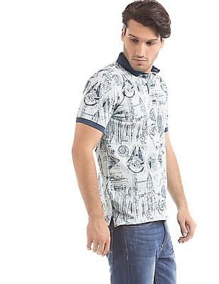 Cherokee Muscle Fit Printed Polo Shirt