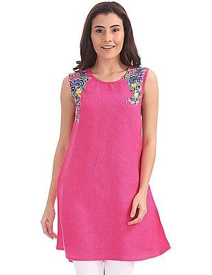 Bronz Sleeveless Floral Print Tunic