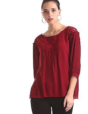 Cherokee Red Lace Sleeve Solid Top