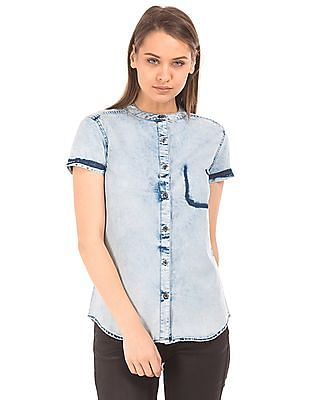 EdHardy Women Printed Back Chambray Shirt