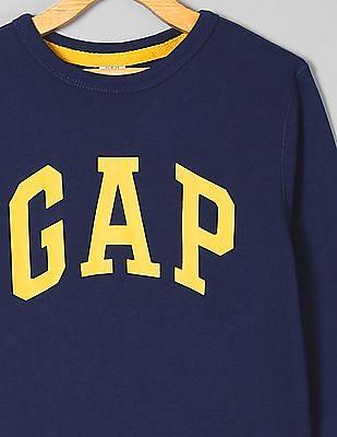 GAP Toddler Boy Blue Printed Crew Neck Sweatshirt