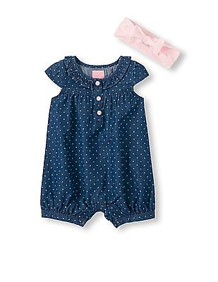 The Children's Place Baby Girls Blue Short Sleeve Chambray Cropped Romper And Headwrap Set