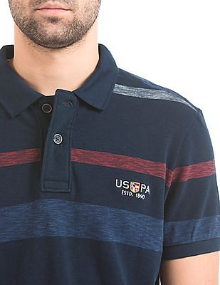 U.S. Polo Assn. Denim Co. Striped Muscle Fit Polo Shirt